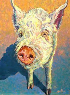 Colorful Contemporary Pig Art Pig Painting Farm Animal Hamlet