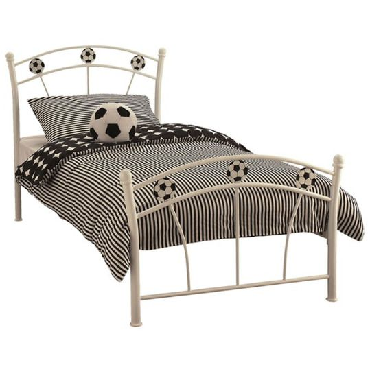 Childrens Bed Frame Kids Toddlers Boys Bedroom Single Metal Sleeper Football