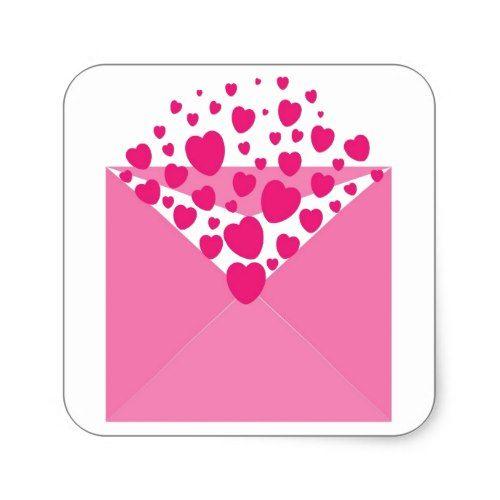 Valentine hearts full envelope sending love square sticker ...