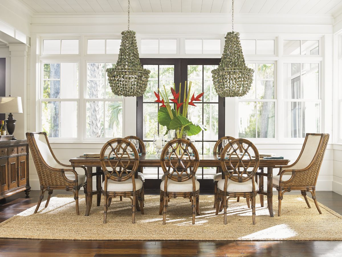 Shell Chandeliers And Tropical Dining Set From Tommy Bahama Home.  #vacationhome #tropicaldining