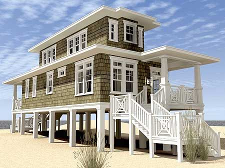 Plan 44124td Beach House Plan With Walkout Sundeck Beachfront House Coastal House Plans Beach Style House Plans