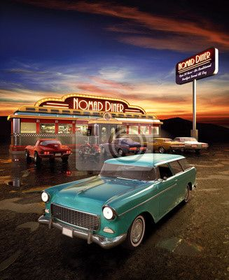 american diner custom size wall sticker only at i belong in the 50 39 s. Black Bedroom Furniture Sets. Home Design Ideas