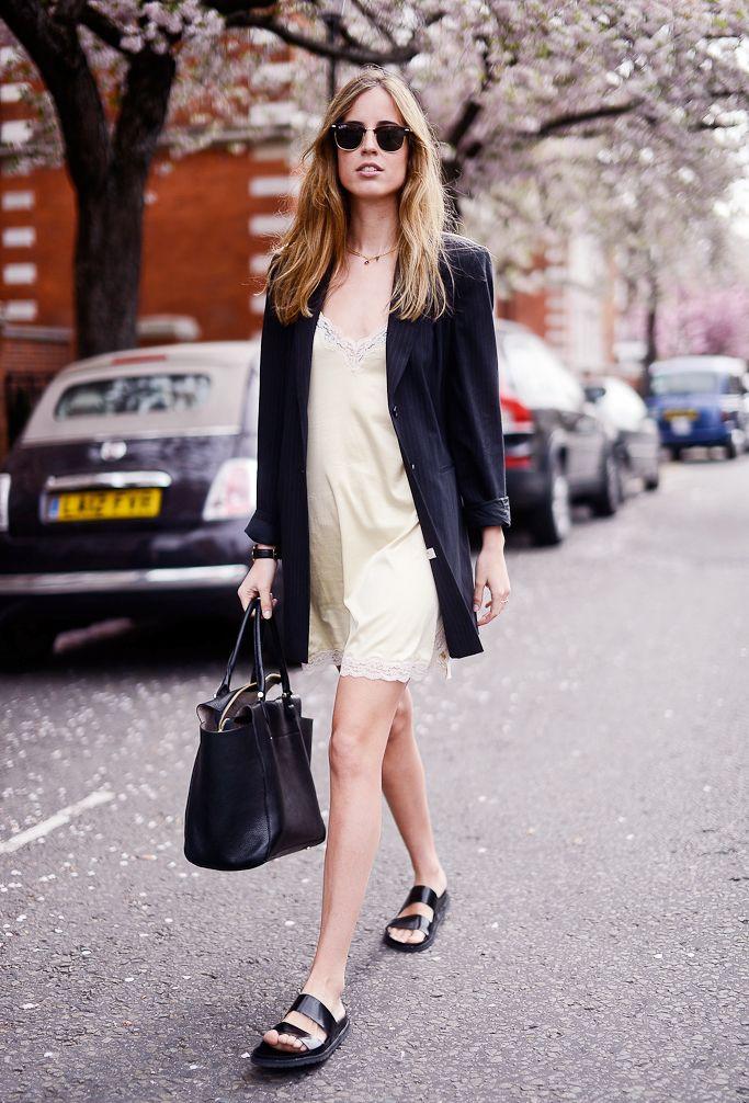 Slip dress, blazer, and sandals
