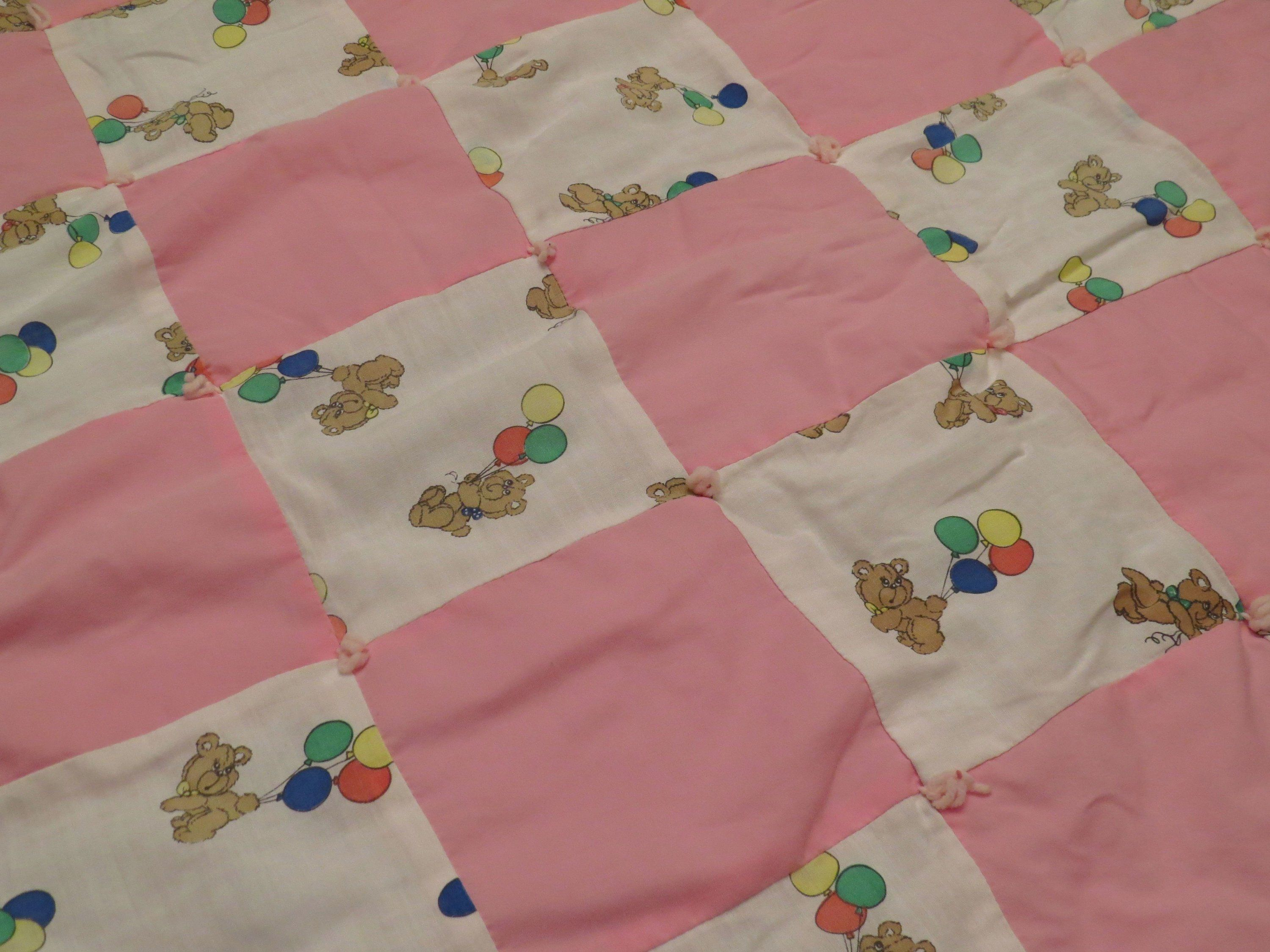 Vintage Teddy Bear Small Quilted Blanket Quilt Blanket Small