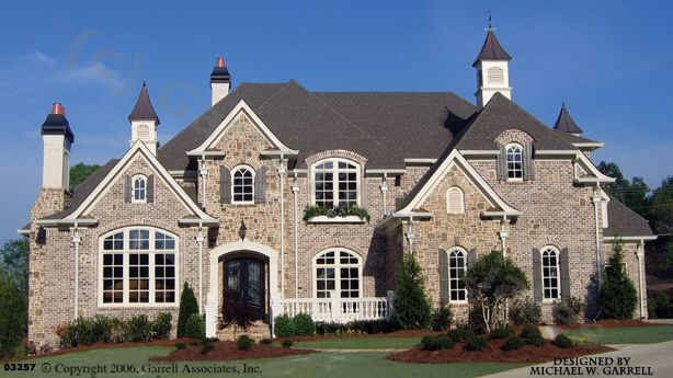Mon Chateau House Plan # 03257, Front Elevation, French Style House Plans, Master Down House Plans