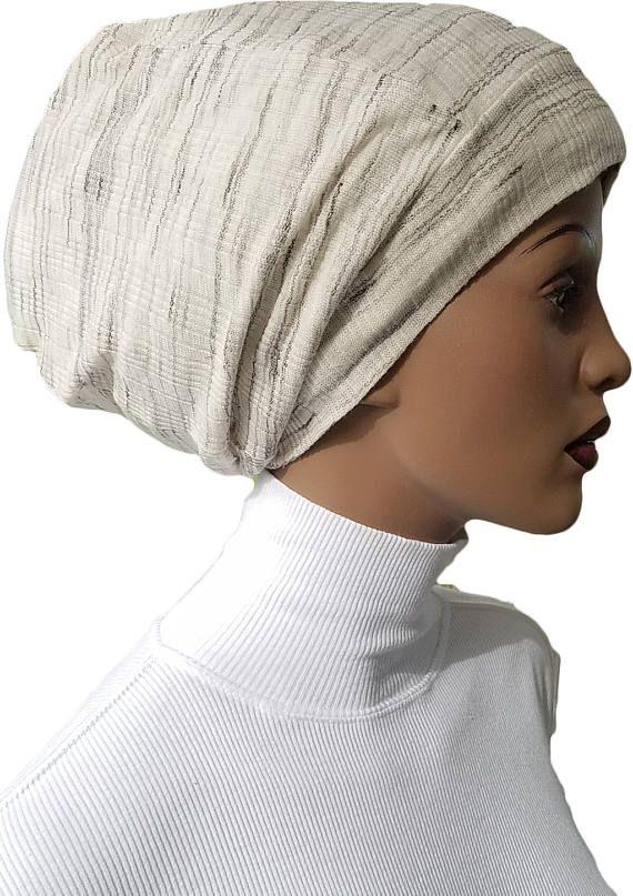99d2d37f1 Striped Cotton Knit Huggee Locs™ Beanie Beanie Cap Hat Tam Slouchy ...