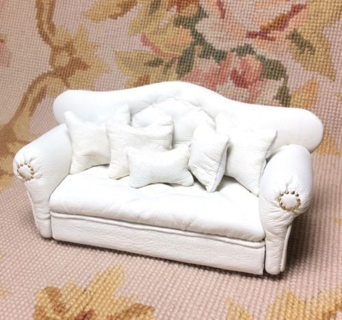 Sofa Couch Lounge Divan Settee Leather With Pillows 1 12 Dollhouse