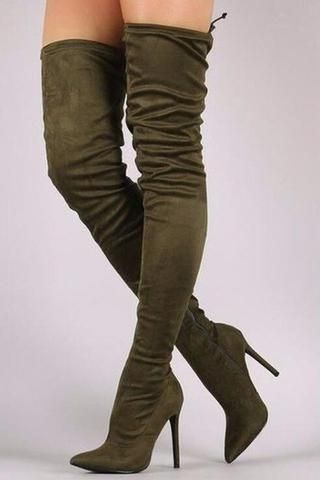 Image of 2017 Hot Selling Women Sexy Pointed Toe Corduroy Over Knee High Heel Bo... 7