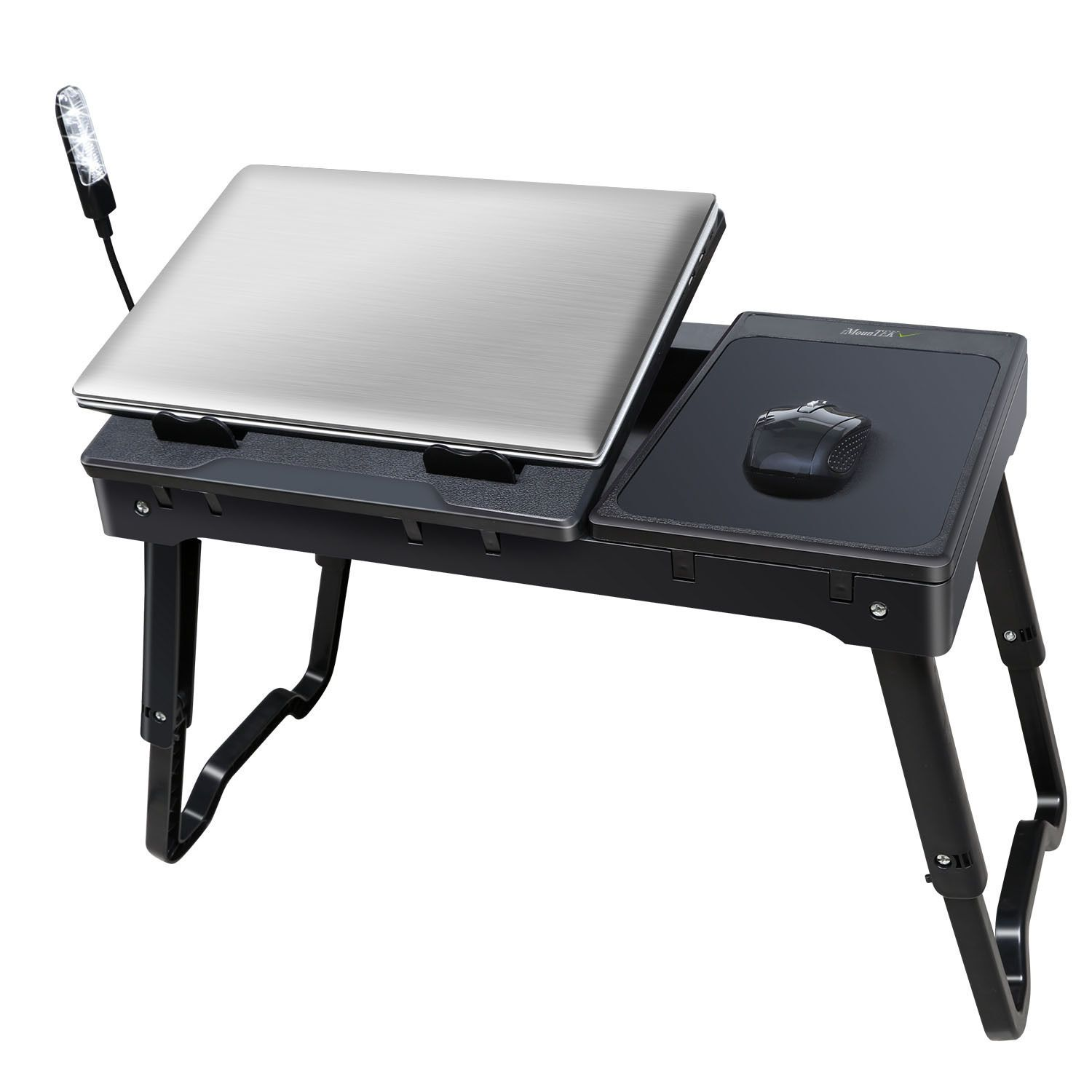 Foldable Laptop Table Tray Desk W Cooling Fan Tablet Stand Bed Sofa Couch Notebook E Mouse Adjule Lightweight And Portable 3 Led Lamp Brand