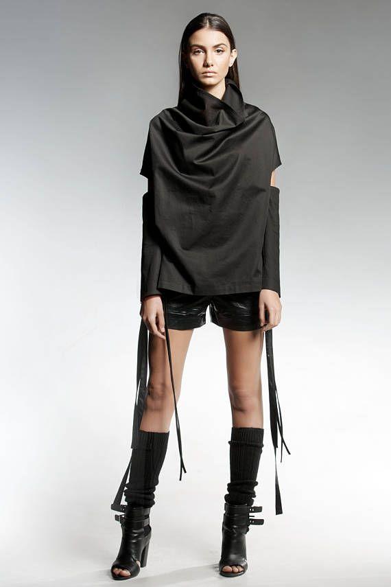 Victorian Blouse, Gothic Blouse, Bohemian Clothing, Women Kimono Top, Black Blouse, Black Extravagant Top, Avant Gade, High Collar Top