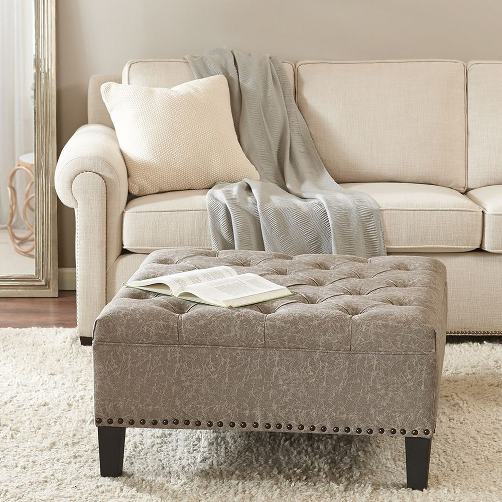 Large Sqiare Taupe Tufted Coffee Table Ottoman