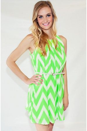 Chevron Neon Green Belted Dress Too Bad I Can T Wear This Color