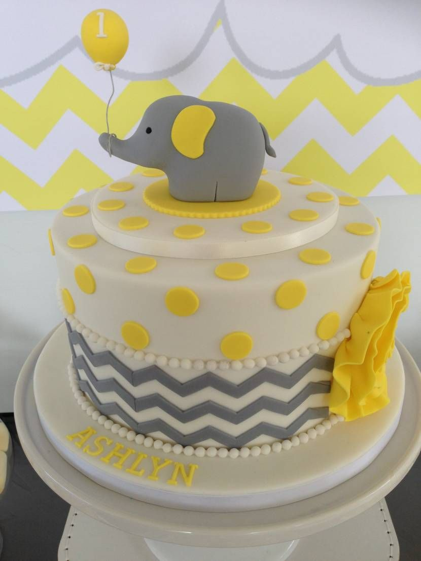 Yellow And Gray Chevron Elephant Cake