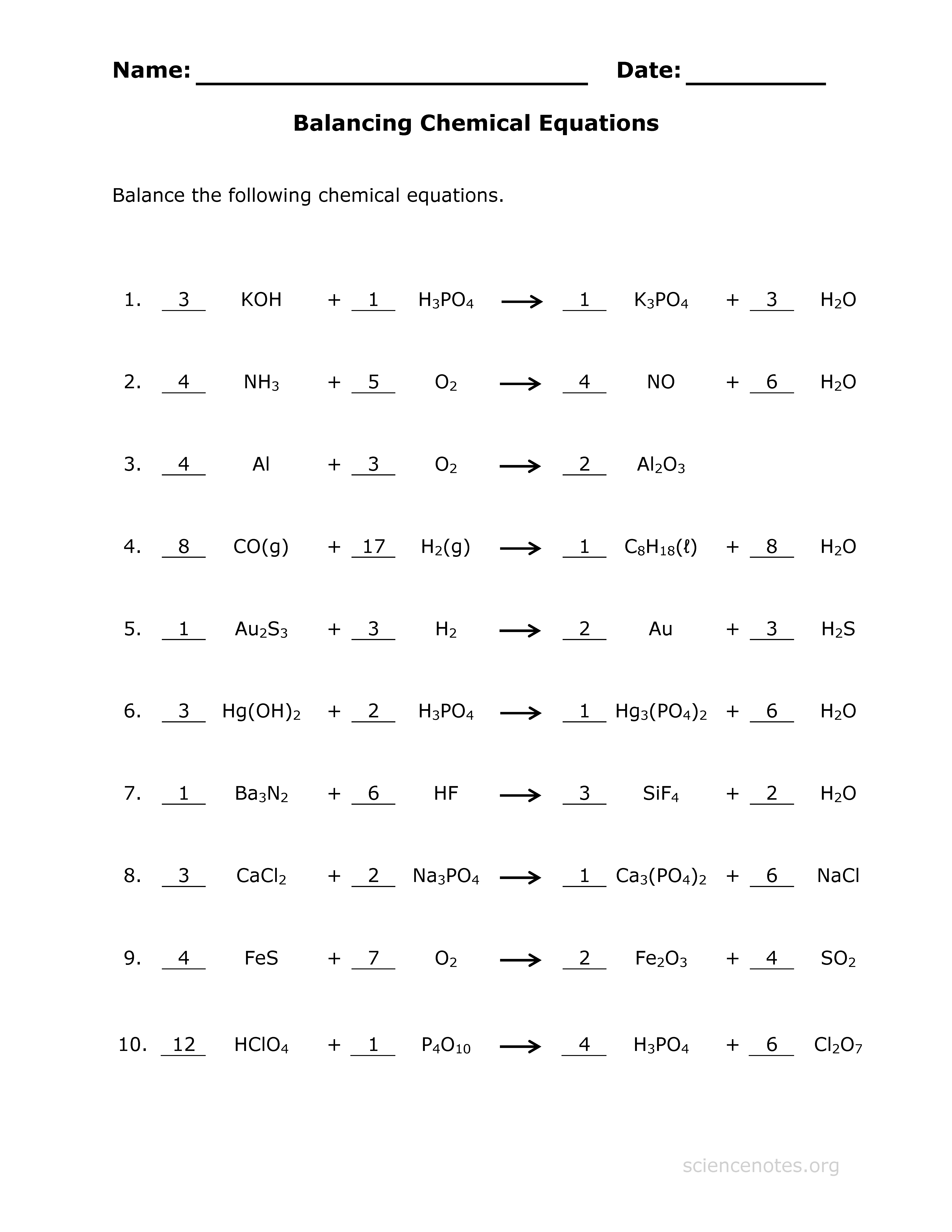 balancing equations practice worksheet | word format resume