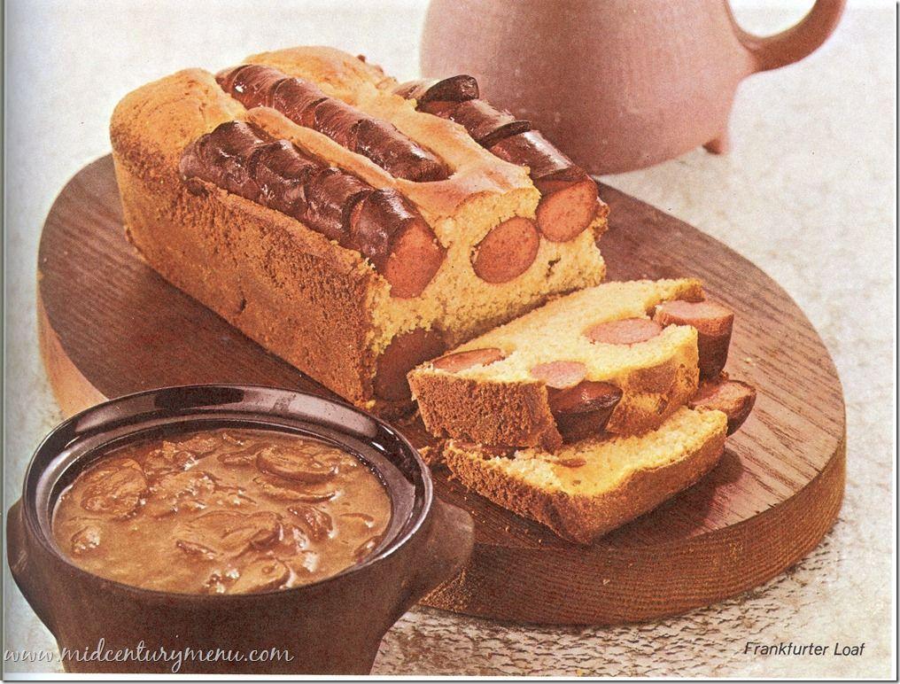Cornbread hotdog loaf with mushroom gravy AND barbecue sauce? The food of nightmares! Frankfurter Loaf – 1967