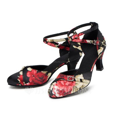 Women's Satin Heels Pumps Modern With Ankle Strap Dance Shoes (053085769) - JJsHouse