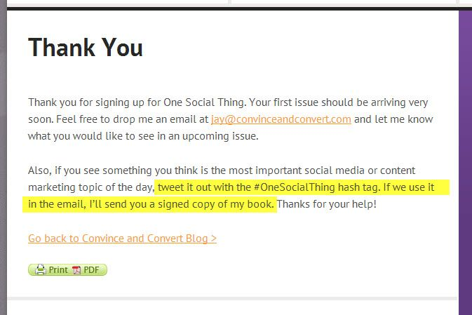 Great Social TieIn A Part Of The Email Sub Thank You From Http
