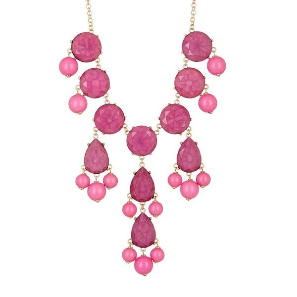 Natasha Accessories Faceted Bubble Necklace ($19) ❤ liked on Polyvore featuring jewelry, necklaces, fuchsia, natasha accessories jewelry, chains jewelry, bead chain necklace, rolo chain necklace and bead jewellery