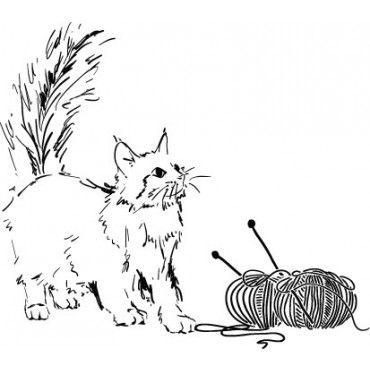 Cat w/ yarn - 738-03 - Rubber Stamps
