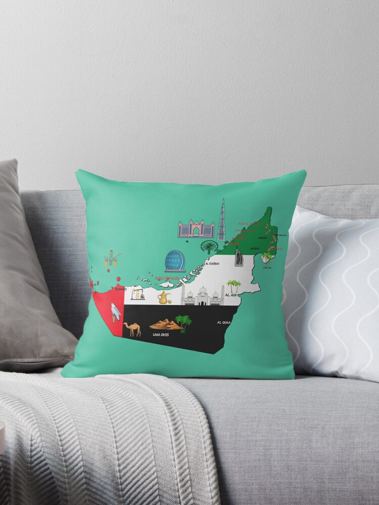 United Arab Emirates Map Major Cities Names Uae National Symbols And Landmarks Throw Pillow By Mashmosh Throw Pillows Pillows Printed Throw Pillows