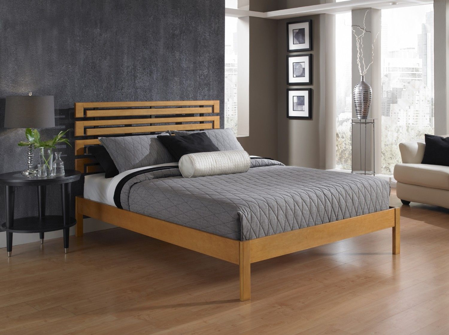wood frame bed with backboard design Platform bed