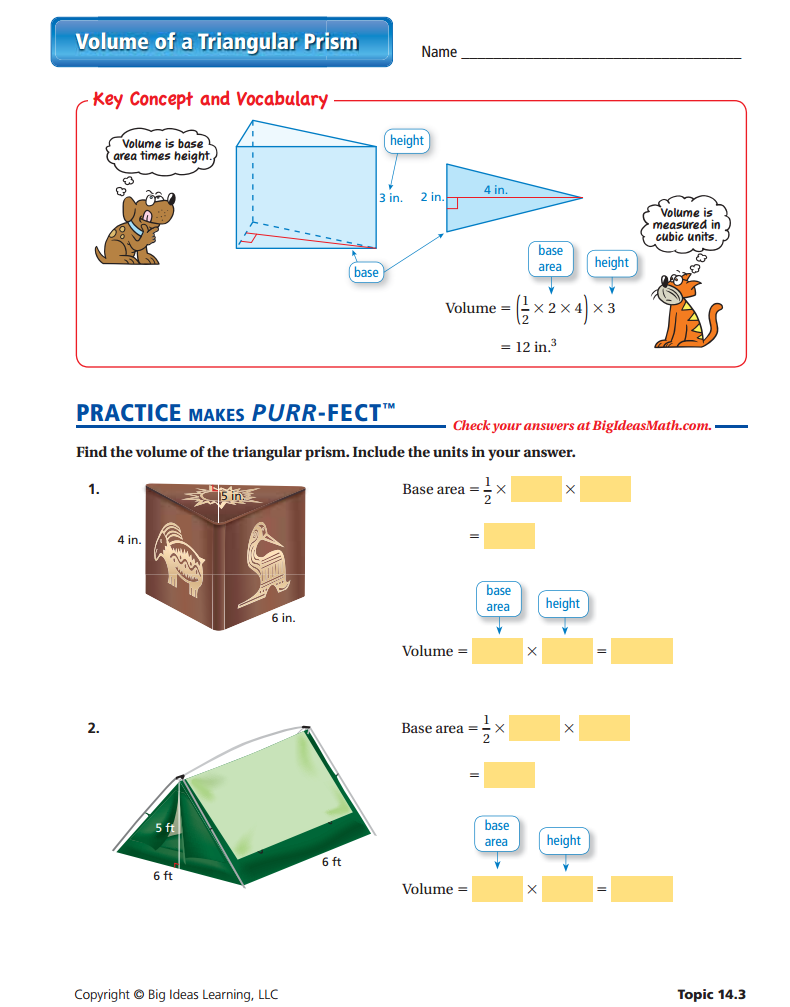 Volume Of A Triangular Prism Worksheet Triangular Prism Teaching Math Vocabulary [ 1007 x 790 Pixel ]