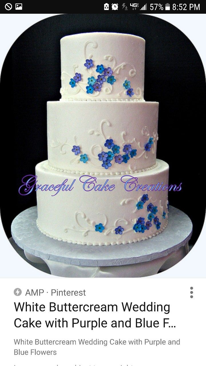 Beautiful Cake With Little Blue Flowers Wedding Cake Ideas