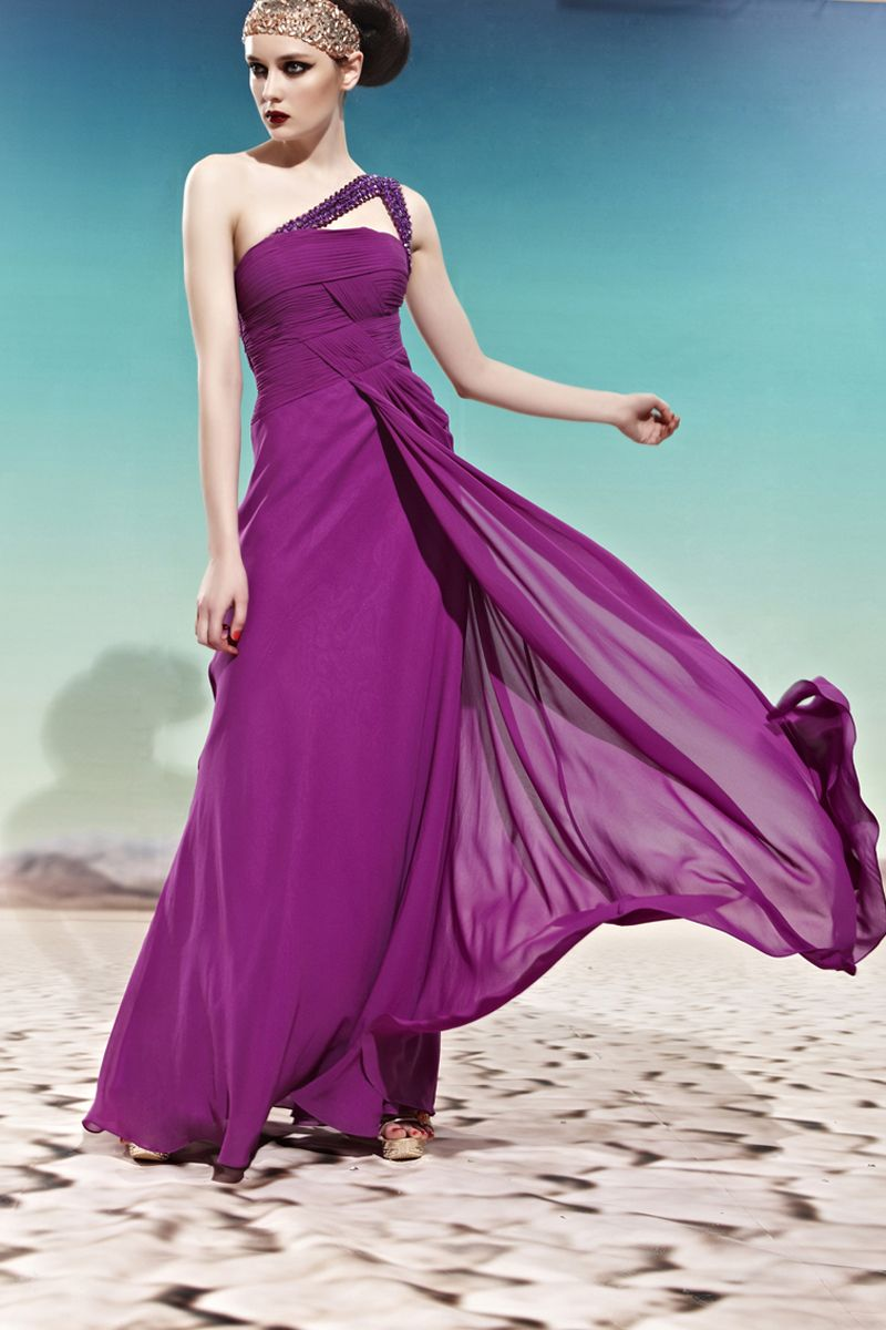 Purple One Shoulder Prom Cocktail Ball Party Long Formal Evening ...