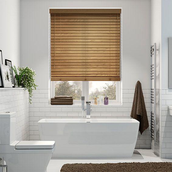 English oak wooden blind 50mm slat in 2019 das badezimmer pinterest badezimmer gardinen - Roller badezimmer ...