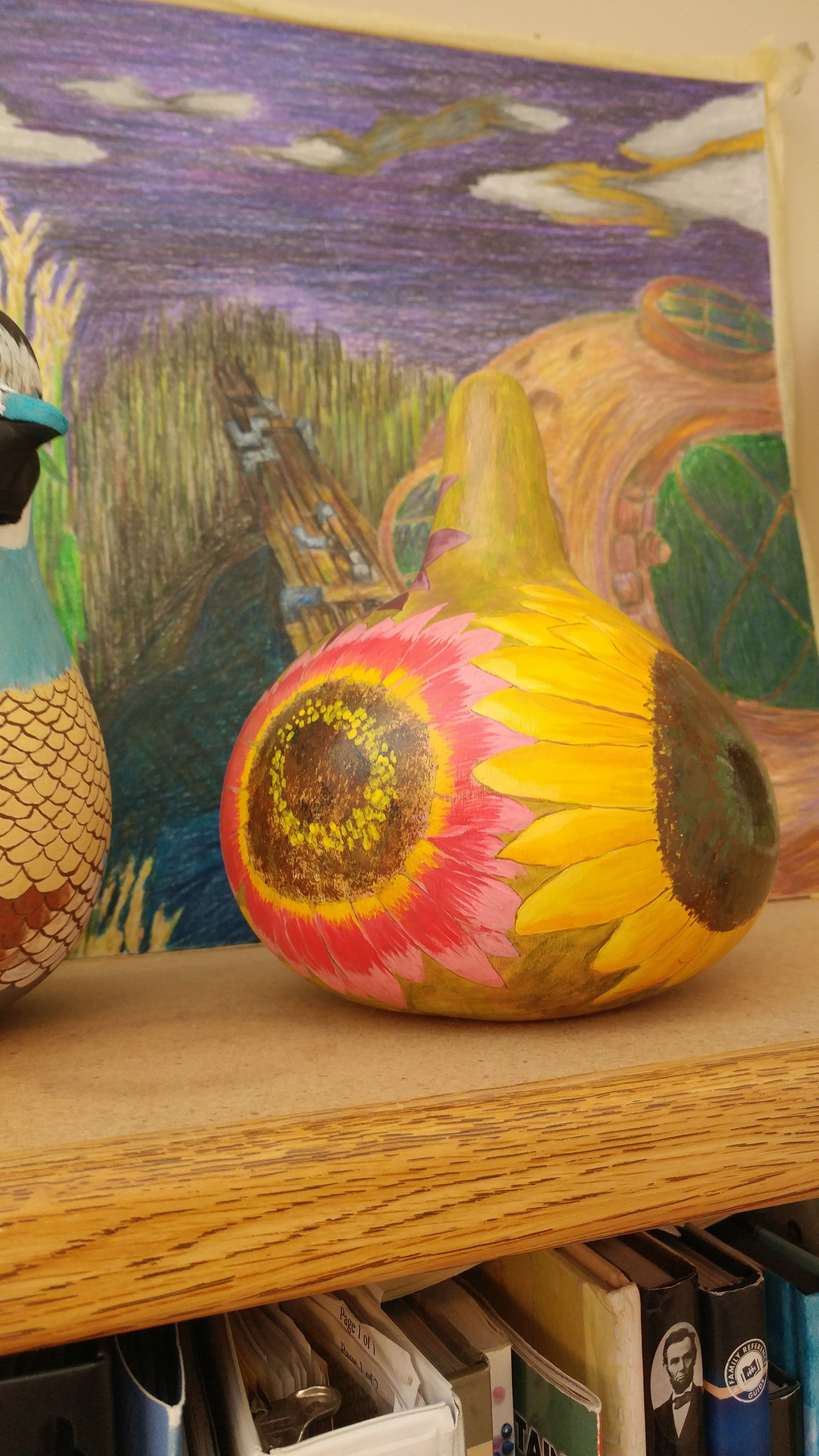 One Of My First Tries Of Tole Painting On Gourds