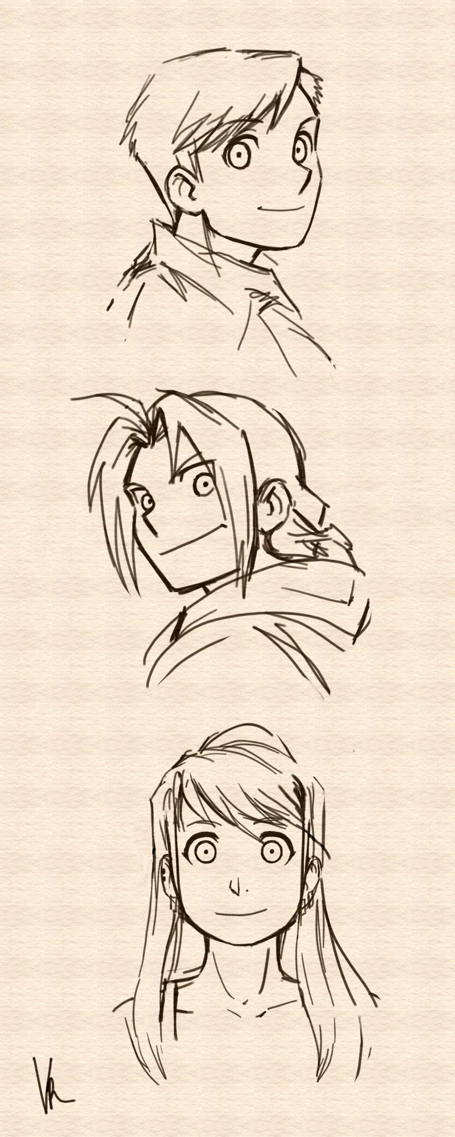 Full Metal Alchemist - Edward, Alphonse, Winry: character sketches, FMA, anime