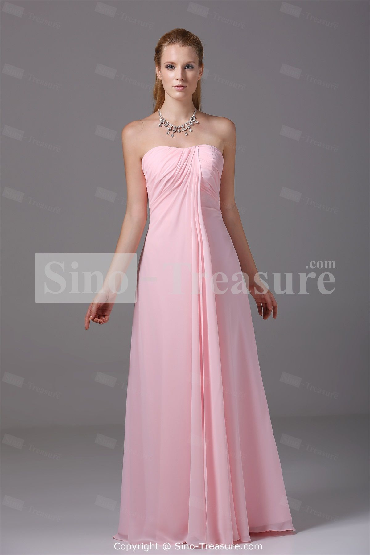 Pink Pearl Floor-Length Satin/ Chiffon Strapless Bridesmaid ...