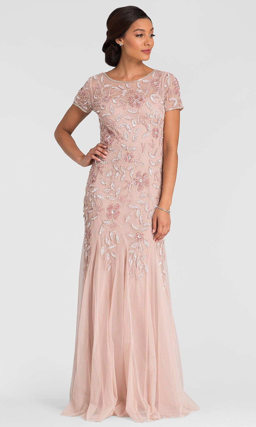 Adrianna Papell Long Blush Pink Sequin Mob Dress Mother Of The Bride Dresses Long Mob Dresses Mom Wedding Dress