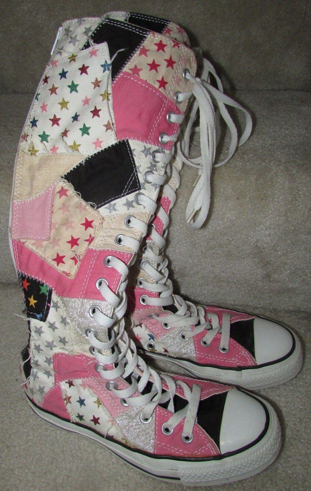 a5e955e570f Converse All Star Chuck Taylor Knee High Patchwork Boot Sneakers Boys 4  Women 6