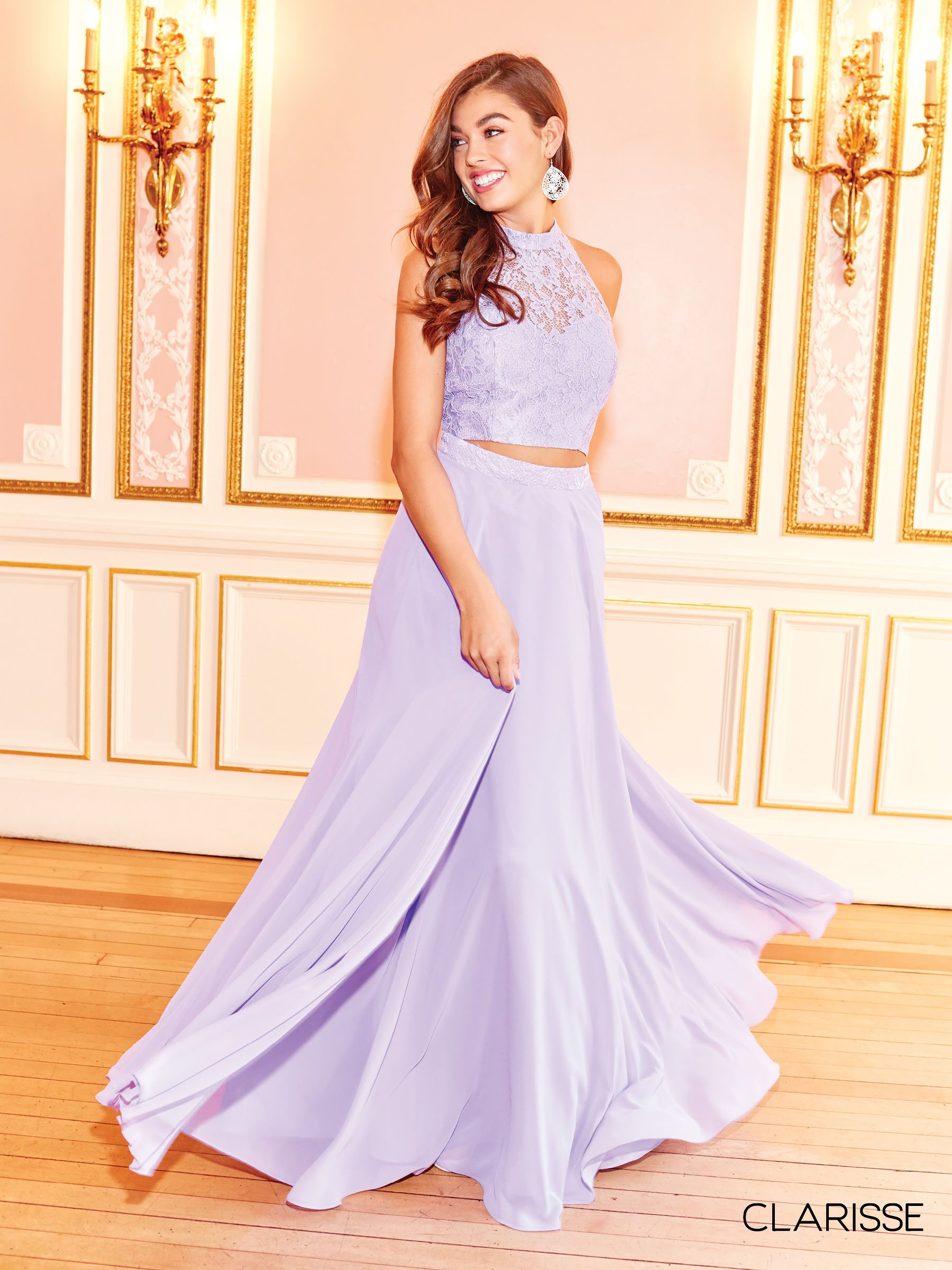 dca0473ab87 3427 - Lilac two piece chiffon prom dress with a lace top and halter  neckline