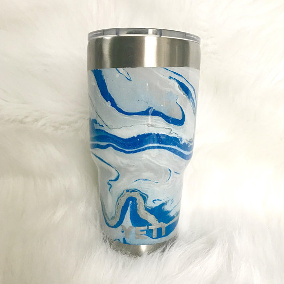 Stainless Steel Hydro Dipped Tumbler Blue And White Tumbler Hydro Dipped Yeti Custom Tumbler Hyd Custom Tumblers Diy Tumblers Glitter Tumbler Cups