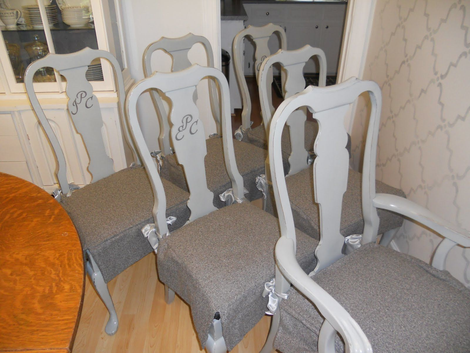 Gray Painted Queen Anne Chairs With Gray Slip Covered