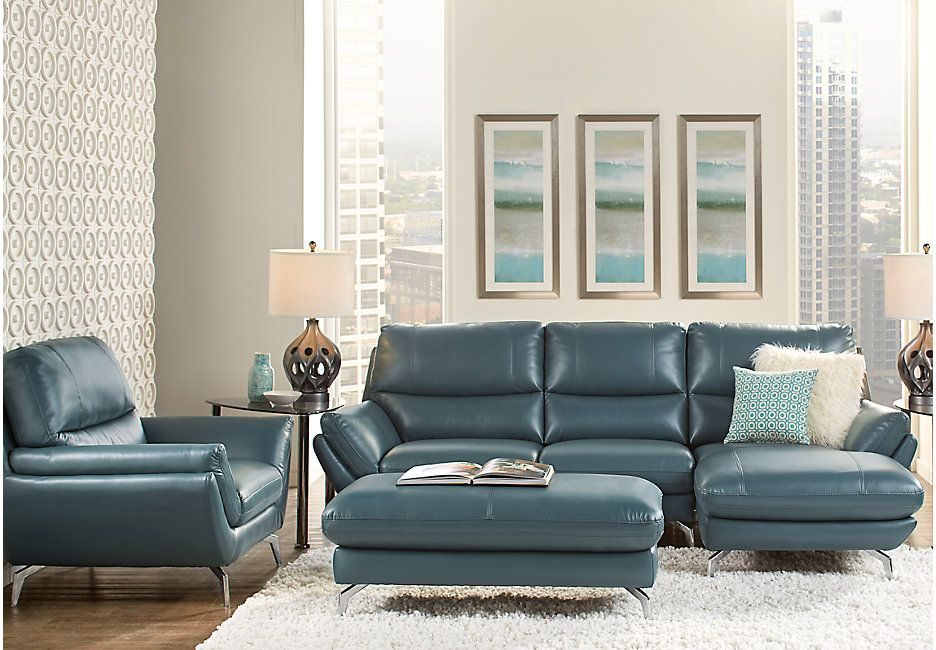 Veda Heights Green 3 Pc Sectional Living