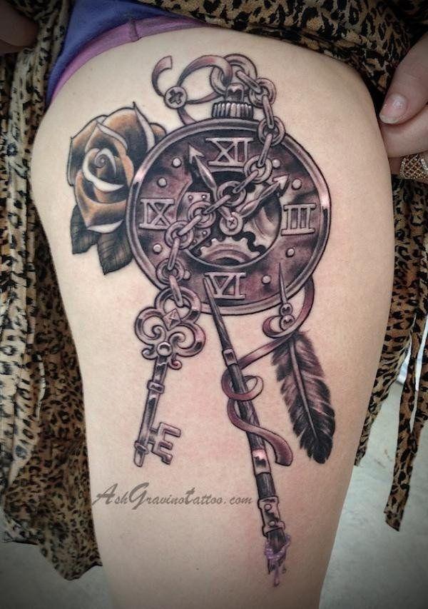 40 Awesome Steam Punk Tattoo Design Ideas Punk Tattoo Steampunk Tattoo Thigh Tattoo
