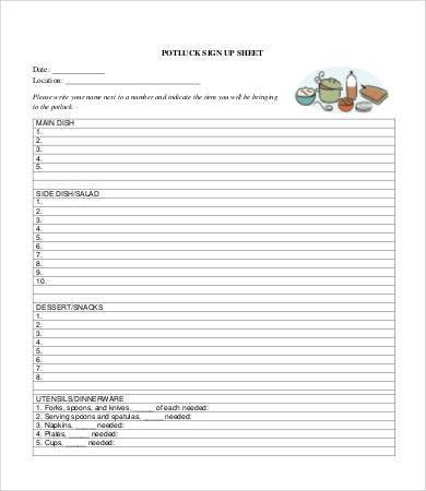 potluck sign up sheet template Potluck Signup Sheet - 9+ Free PDF