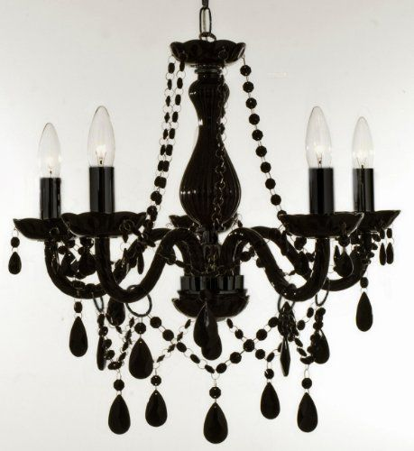 New Authentic All Black Crystal Chandelier Lighting 5 Lights Free Shipping H19 X Wd 19 Ce Black Crystal Chandelier Crystal Chandelier Lighting