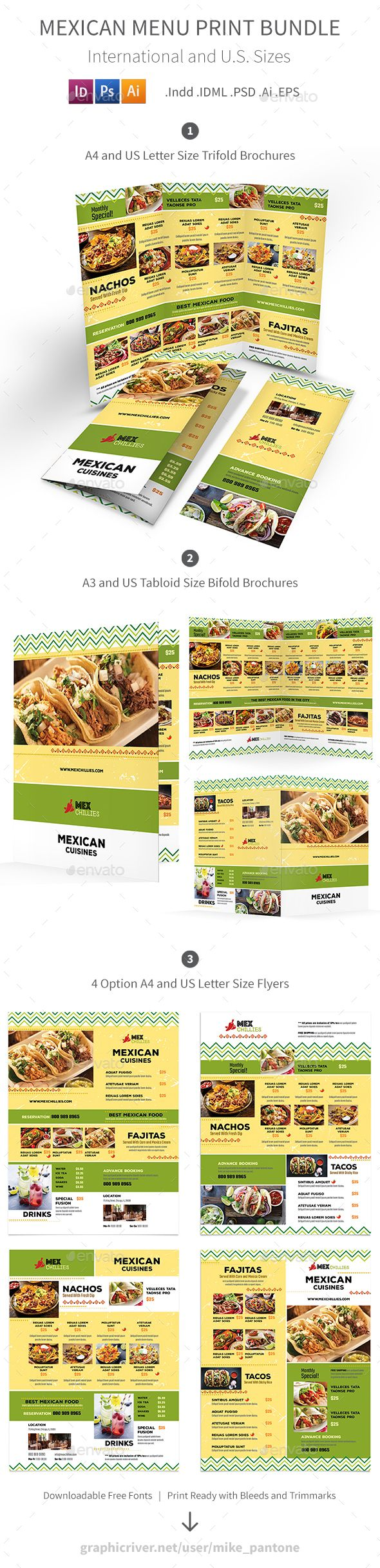 Mexican Restaurant Menu Print Bundle 2 Food Menus Print