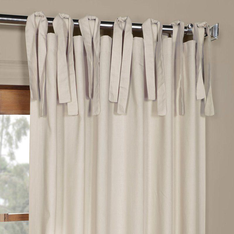 Bulah Solid Tie-Top Single Curtain Panel & Reviews