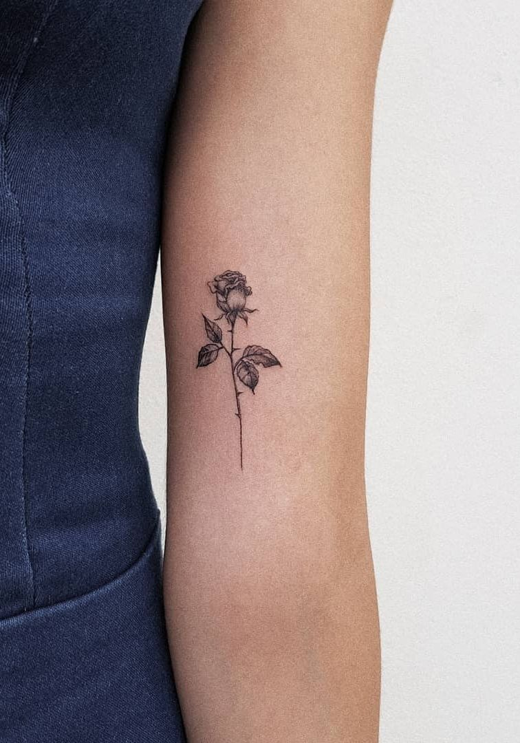 Minimalist Rose Tattoo Small Rose Tattoo Tattoos Subtle Tattoos