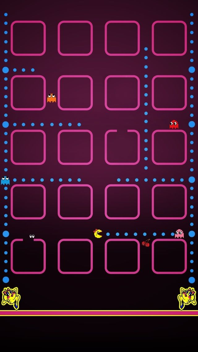 Captivating Pacman IPhone 5 Icon Frame Wallpaper   Go To Website For IPhone 4 Version