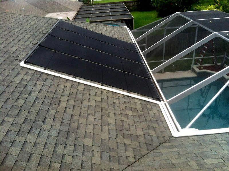 Solar Pool Heating Photograph on Shingle Roof with