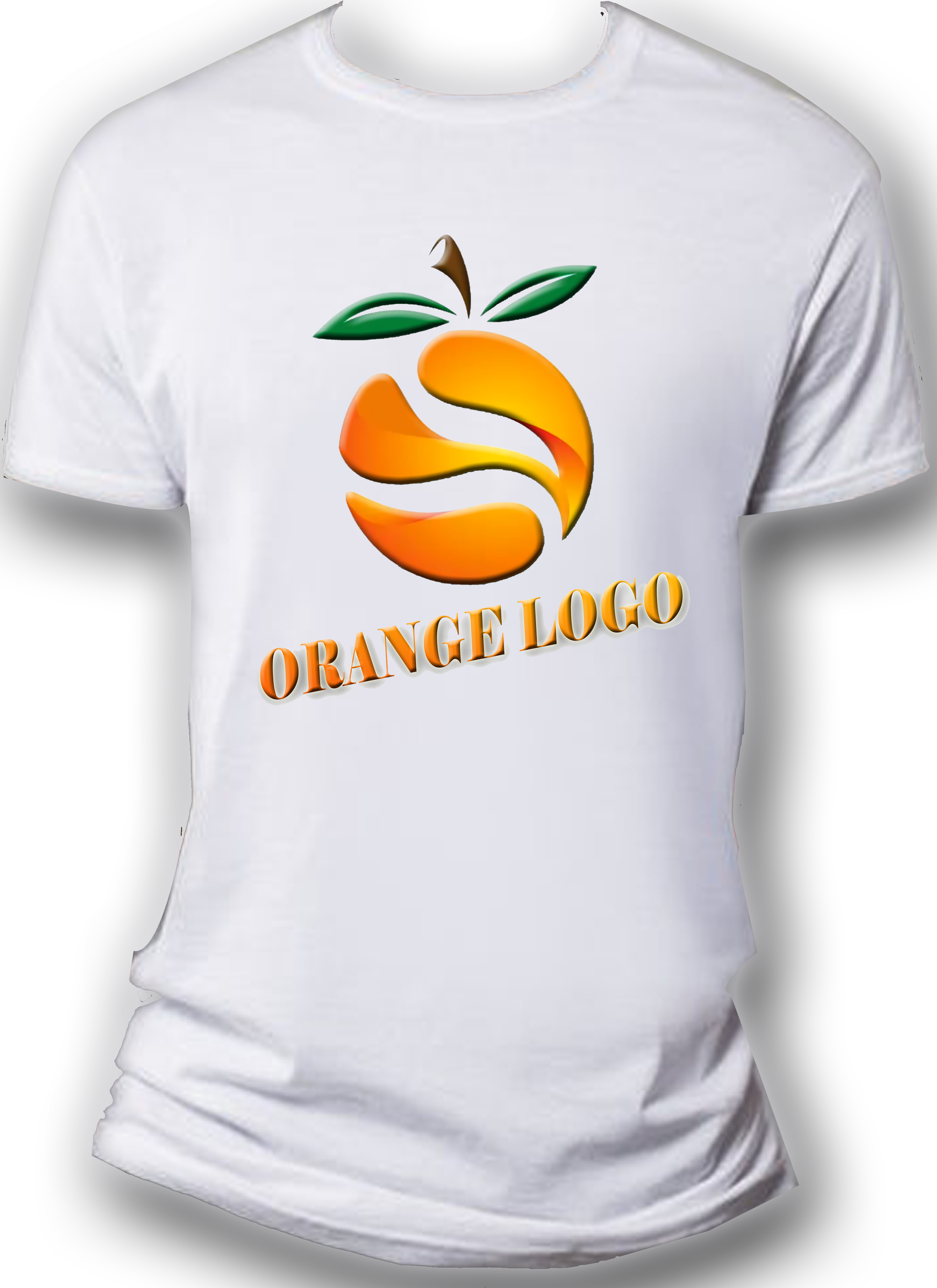 Simple White T-Shirt With Orange logo | T-Shirts | Mens tops