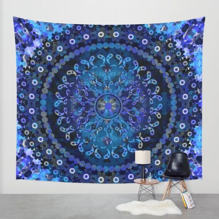 Mandala Illustrated pattern with floral detail layered with digital watercolor painting in Blues