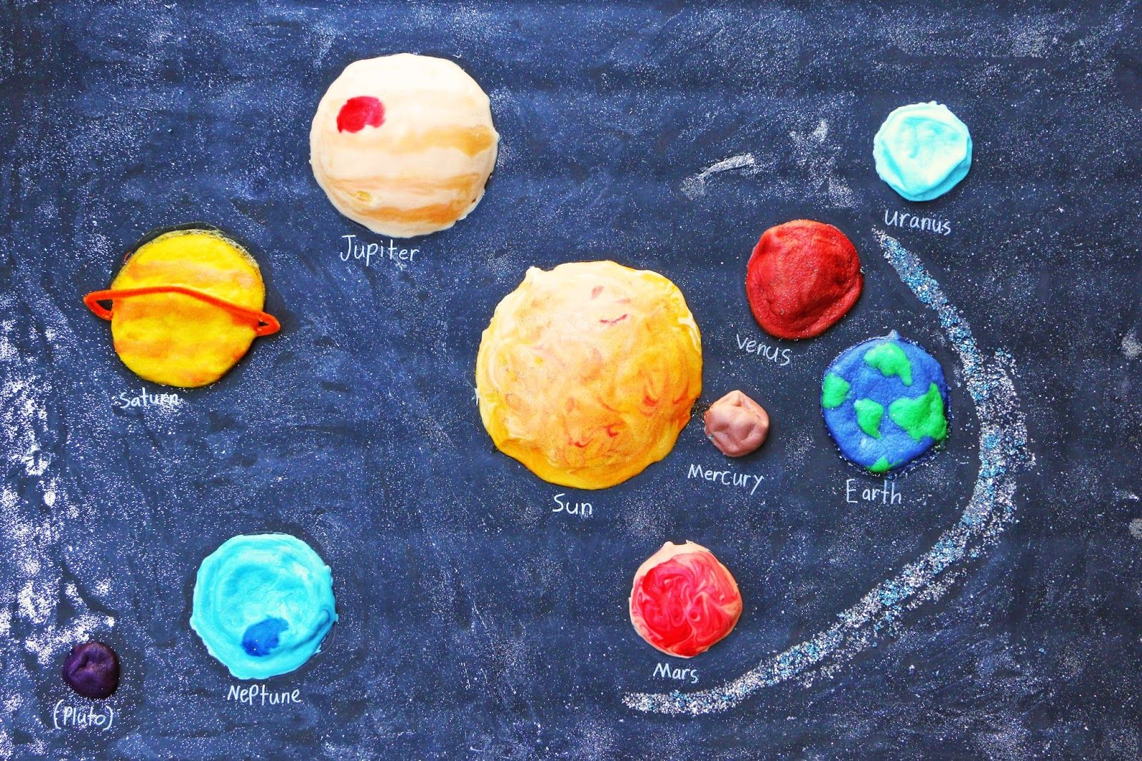 Puffy Planets made with shaving cream and white glue. Add food ...