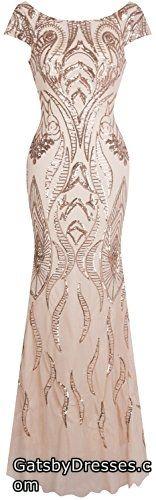 Angel-fashions Womens Bateau Cap Sleeve Floral Sequin Sheath V Back Evening Dress